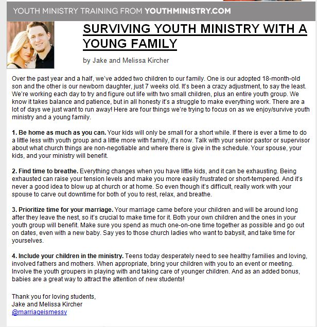 Being in Youth Ministry and Having a Family is Tough…