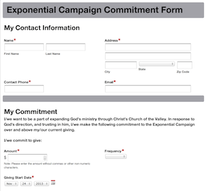 New Online Capital Campaign Commitment Form